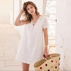 Sezane White Carolane Cotton Eyelet Mini Dress - 8